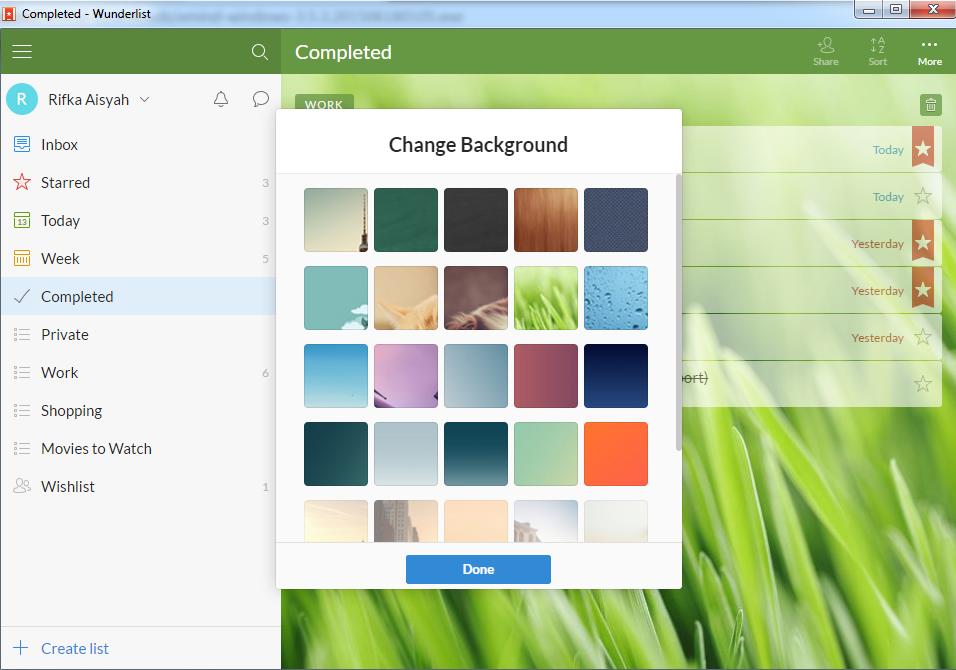 Change Background in Wunderlist