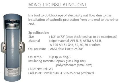 Monolytic insulating joint