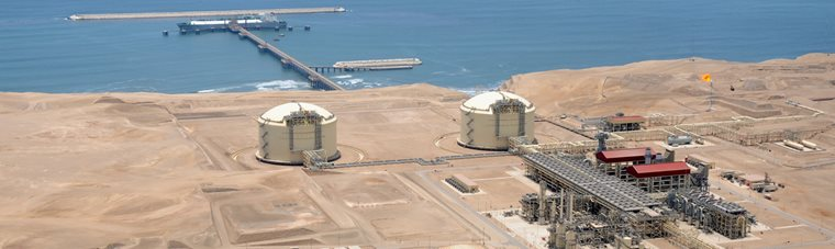 Peru LNG export teminal with two single containment storage tanks